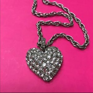 Jewelry - Large Antiqued Silver Pave Heart Necklace, NWT